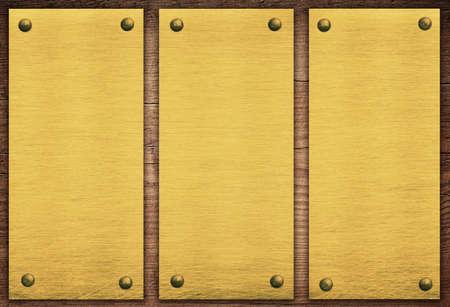 placa bacteriana: Composición de la placa de oro, banner en tablón de madera.