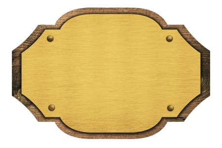 placa bacteriana: Composición de la placa de oro, el nombre de la placa en la tabla de madera aislado en blanco.