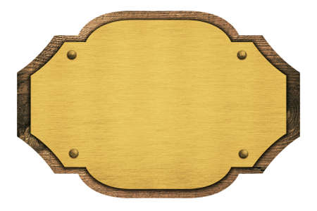 wooden plaque: Composition of golden plaque, name plate on wooden board isolated on white. Stock Photo