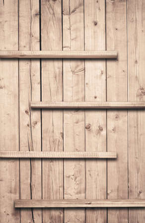 striped texture: Old brown wooden planks texture with shelfs Stock Photo