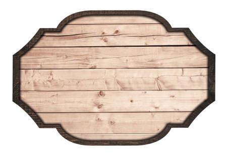 Brown cartello in legno, piatto, tavole e cornice scura su sfondo bianco. Archivio Fotografico - 45010354