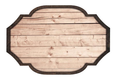 wood sign: Brown wooden signboard, plate, planks and dark frame on white background.