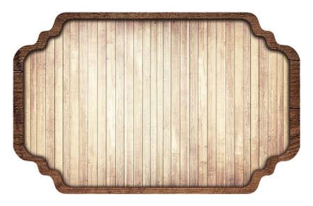 letreros: Letrero de madera de Brown, placa, tablones y marco oscuro sobre fondo blanco.