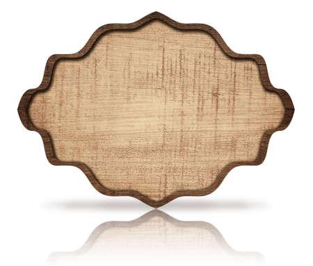 grecas: Marrón letrero de madera ornamentada y la reflexión, con marco oscuro a bordo rayado. Foto de archivo