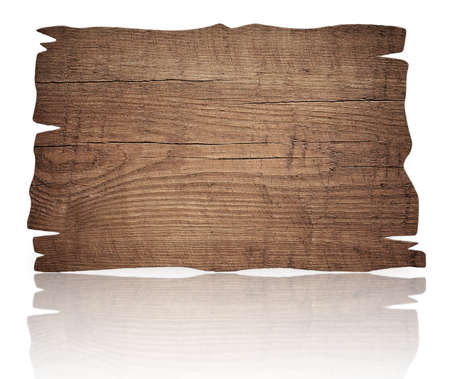 letreros: Degradado de edad rascó la señal de madera, tablón y la reflexión sobre la mesa de cristal.
