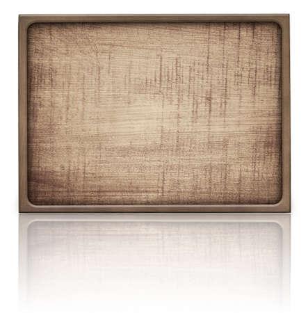 marco madera: Marrón letrero rectángulo de madera y la reflexión sobre la mesa de cristal, marco oscuro, tablones de luz.