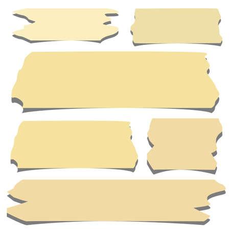 sticky tape: Ajuste del tama�o de la cinta adhesiva horizontal y diferente, piezas adhesivas en el fondo blanco