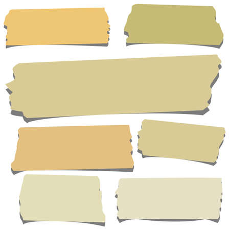 wrinkle: Set of horizontal and different size sticky tape,adhesive pieces on white background Illustration