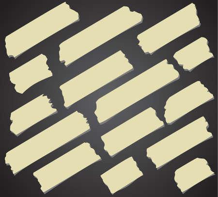 sticky tape: Ajuste del tama�o de la cinta adhesiva en diagonal y diferente, piezas adhesivas sobre fondo negro.