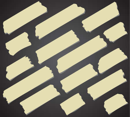 sticky tape: Set of diagonal and different size sticky tape, adhesive pieces on black background.