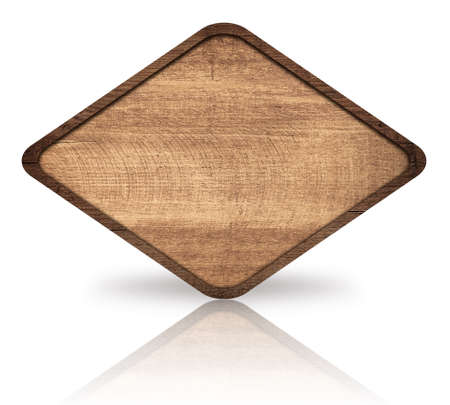 wood sign: Brown wooden rhombus with dark frame, signboard and reflection on glass table. Stock Photo