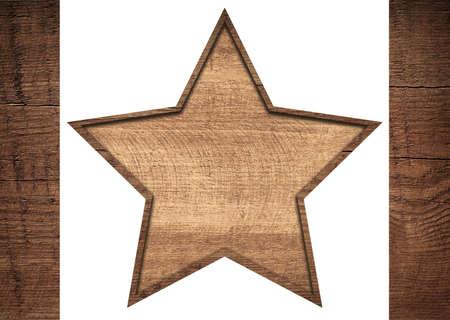 grecas: Estrella de madera de Brown con el marco entre tablones oscuros. Foto de archivo