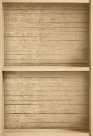 old frame: Empty brown bookcase for books and other items to keep, made of wooden planks. Stock Photo