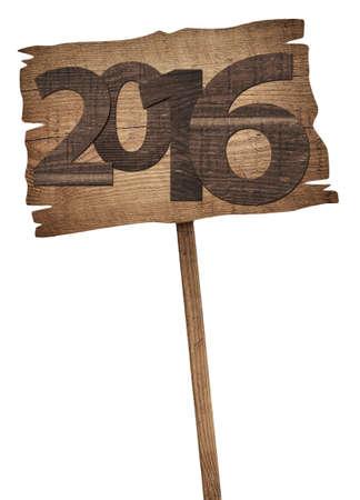 sixteen: New twenty sixteen year  number written on wooden sign. Stock Photo