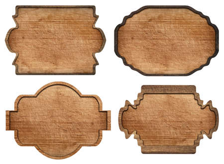 wood sign: Set of brown wooden signboard, plates, planks and dark frames are isolated on white background.