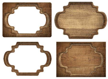 grecas: Conjunto de letrero marrón de madera, planchas, tablas y marcos oscuros son aislados en fondo blanco.