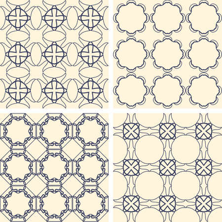 pattern of geometric shapes: Abstract symmetrical geometric blue shapes. Fabric pattern.