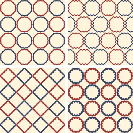 pattern of geometric shapes: Abstract symmetrical geometric dark blue and red circle, square shapes. Fabric pattern.