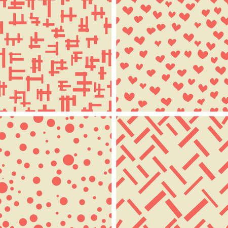 fondo rojo: Conjunto de formas geométricas corazones círculo. Textura de la tela.