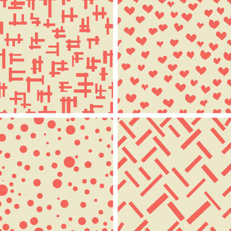 beige background: Set of geometric shapes hearts circle. Fabric texture.