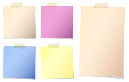 adhesive tape: Set of various colors note papers with adhesive tape on white background. Illustration