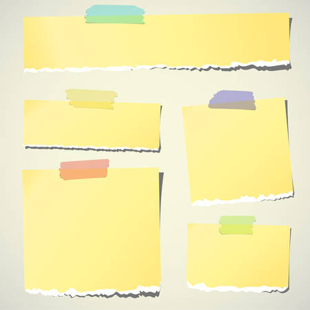 Set of various yellow torn note papers with adhesive tape on background.