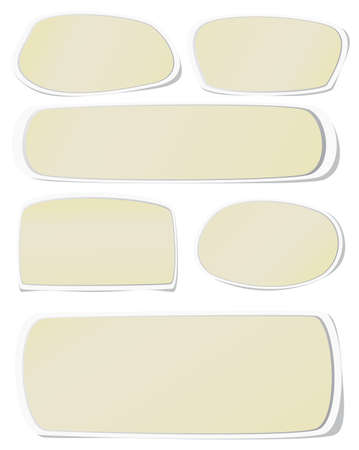 post it note: Set of brown note papers on white background.