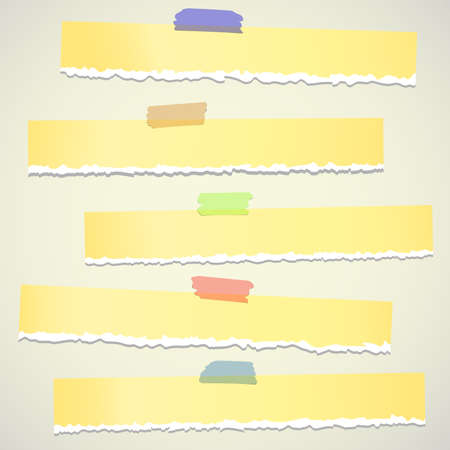 adhesive tape: Set of various yellow torn note papers with adhesive tape on background.