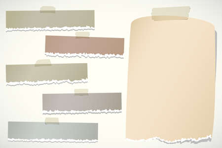 sticky: Set of various brown torn note papers with adhesive tape on background. Illustration