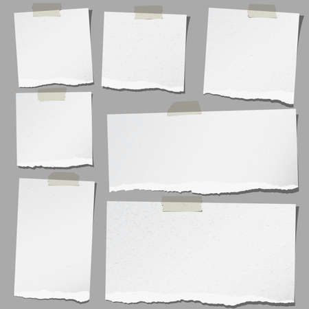 Set of various gray torn note papers with adhesive tape. Vettoriali