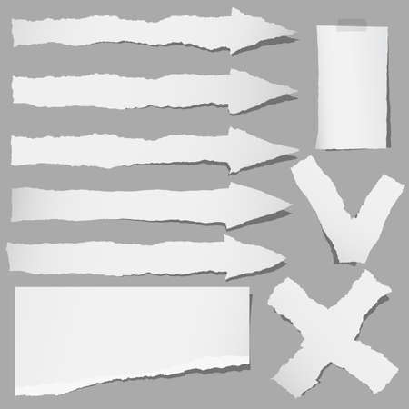 Set of various gray torn papers arrows, cross, accept, yes or no symbols.