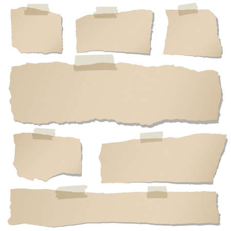 Set of various brown torn note papers with adhesive tape on white background.