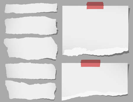 Set of various gray torn note papers with adhesive tape.
