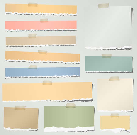 Set of various colorful torn note papers with adhesive tape on gray background.