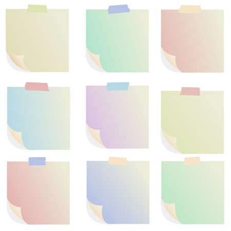 post it note: Set of various colorful note papers on white background.