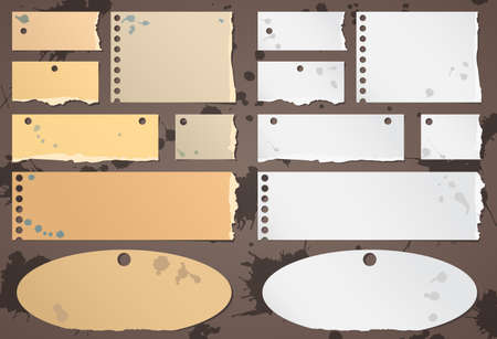 post: Set of various brown, gray torn note papers with splashes. Illustration