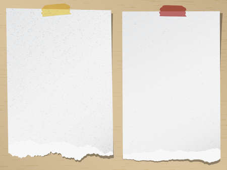 Set of gray torn grainy note papers with adhesive tape on brown background.