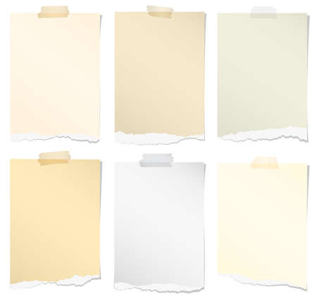 adhesive tape: Set of various colors torn note papers with adhesive tape on white background.