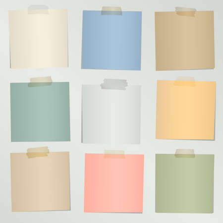Set of various colorful note papers with adhesive tape on gray background. Stock Illustratie