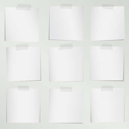 adhesive tape: Set of various gray note papers with adhesive tape on background. Illustration