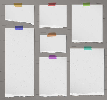 adhesive tape: Set of various gray torn note papers with adhesive tape. Illustration