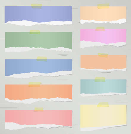 adhesive tape: Set of various colorful torn realistic note papers with adhesive tape on gray background. Illustration