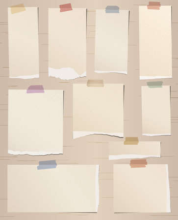 adhesive tape: Set of various brown torn note papers with adhesive tape. Illustration