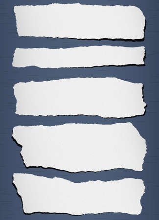 Gray torn grainy paper on blue background.