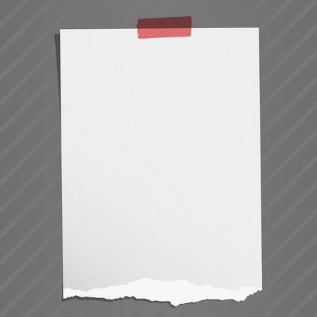 Gray torn grainy note paper with adhesive tape on striped background.