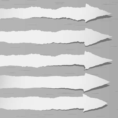 post: Set of various gray torn papers arrows symbols with shadows. Illustration