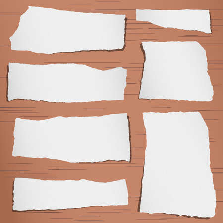 post it notes: Set of gray torn note papers on brown  background.