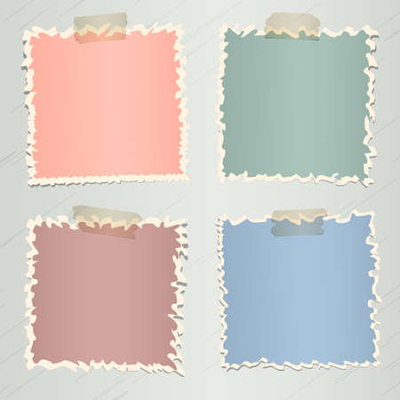 adhesive tape: Set of various colorful torn note papers with adhesive tape on gray background.
