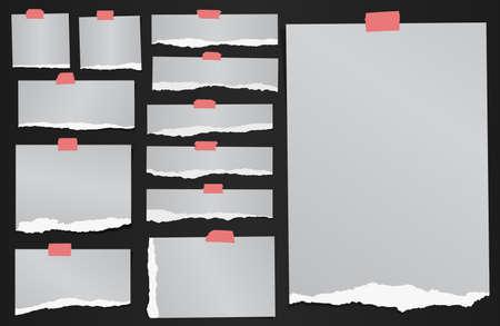 papel de notas: Conjunto de varios papeles de nota gris desgarrados granuladas con cinta adhesiva. Vectores