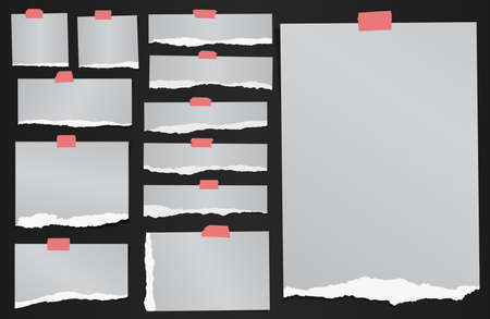Set of various gray torn grainy note papers with adhesive tape.